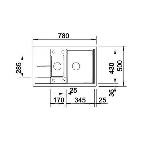 1515044 metra 6 s compact blanco lavello 78x50 2 vasche reversibile silgranit caffe'