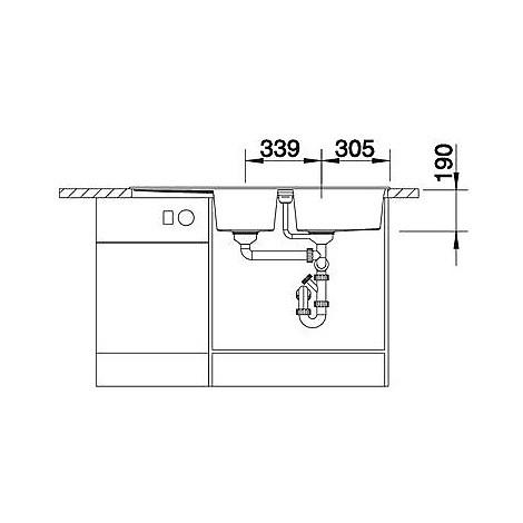 1515048 metra 8 s caffè blanco lavello 116x50 2 vasche reversibile silgranit