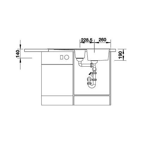 1515130 zia 6 s grigio seta blanco lavello 100x50 2 vasche reversibile silgranit sopratop
