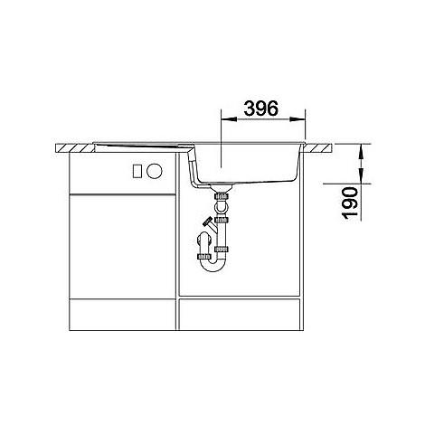 1515142 metra xl 6 s blanco lavello 100x50 1 vasca reversibile silgranit antracite