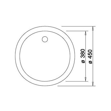 1515210 rondo grigio seta blanco lavello diam 43 1 vasca circolare silgranit sopratop