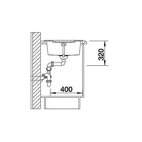 1515224 metra 5 s grigio seta blanco lavello 86x50 1 vasca reversibile silgranit