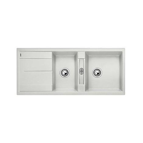 1515230 metra 8 s blanco lavello 116x50 2 vasche reversibile silgranit grigio seta
