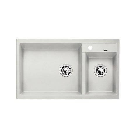 1515232 metra 9 grigio seta blanco lavello 86x50 2 vasche senza sgocciolatoio silgranit