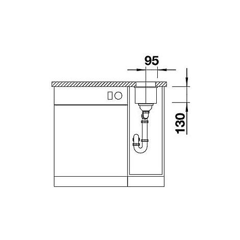 1515234 subline 160-u blanco lavello 19x46 1 vasca senza sgocciolatoio silgranit grigio seta