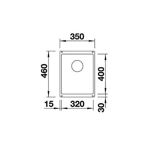 1515235 subline 320-u blanco lavello 35x46 1 vasca senza sgocciolatoio silgranit grigio seta