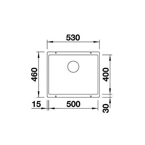 1515236 subline 500-u blanco lavello 53x46 1 vasca senza sgocciolatoio silgranit grigio seta