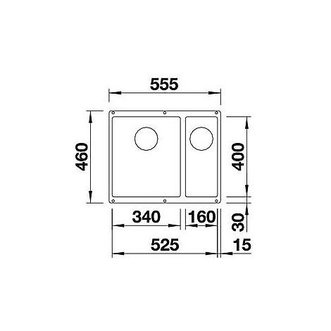 1515237 subline 340/160-u blanco lavello 56x46 2 vasche senza sgocciolatoio silgranit grigio seta