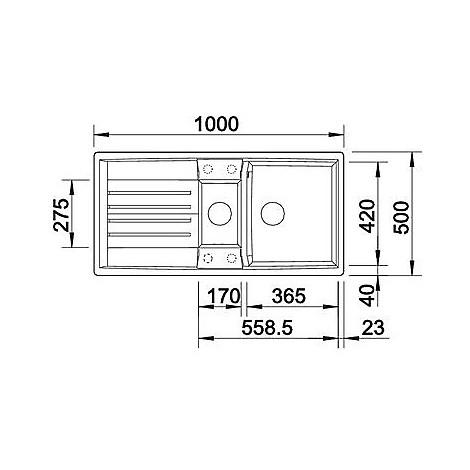1515241 lexa 6 s grigio seta blanco lavello 100x50 2 vasche reversibile silgranit