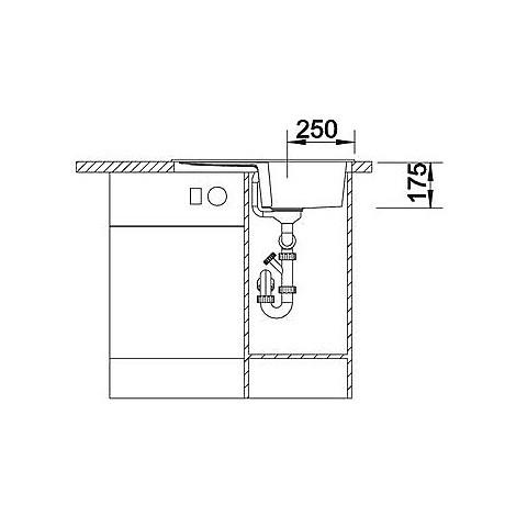 1515262 enos 40 s grigio seta blanco lavello 68x50 1 vasca reversibile silgranit sopratop