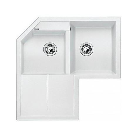 1515568 metra 9 e bianco blanco lavello 83x83 2 vasche angolare silgranit