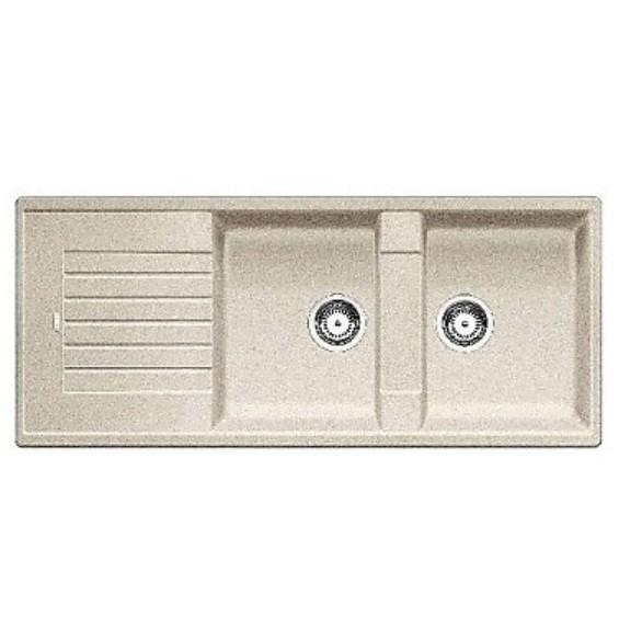 1515600 zia 8 s sabbia blanco lavello 116x50 2 vasche reversibile silgranit sopratop