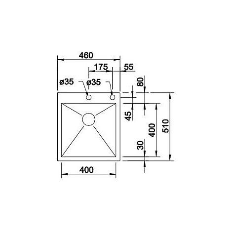 1515639 zerox 400-if/a r4 blanco lavello 46x51 1 vasca senza sgocciolatoio inox satinato