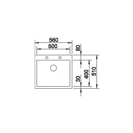 1515643 claron 500-if/a blanco lavello 56x51 1 vasca senza sgocciolatoio inox satinato