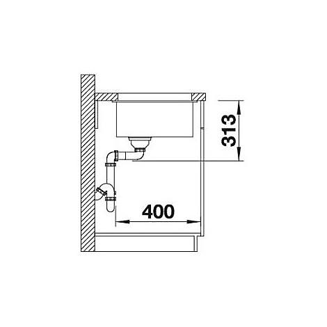 1515753 subline 400-u blanco lavello 43x46 1 vasca senza sgocciolatoio silgranit alumetallic