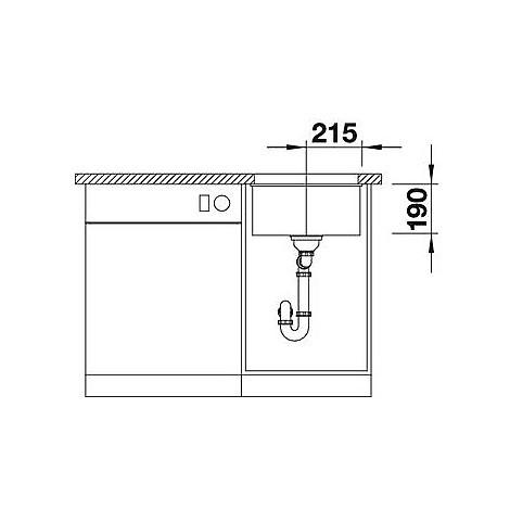 1515762 subline 400-u blanco lavello 43x46 1 vasca senza sgocciolatoio silgranit antracite