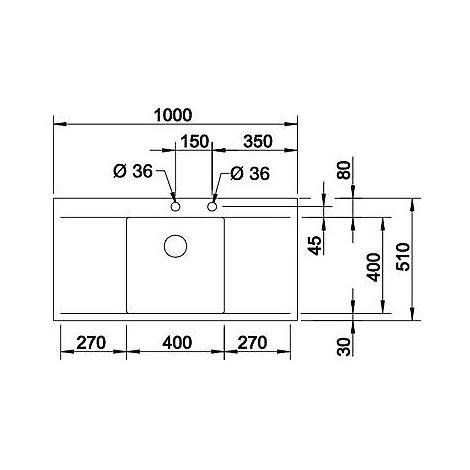 1515816 flow 45 s-if r4 blanco lavello 100x51 1 vasca sgocciolatoio destro e sinistro inox sat