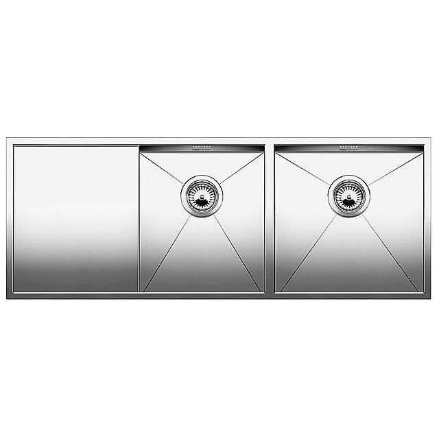 1515878 zerox 8 s-u blanco lavello 116x46 2 vasche sgocciolatoio a sinistra inox satinato