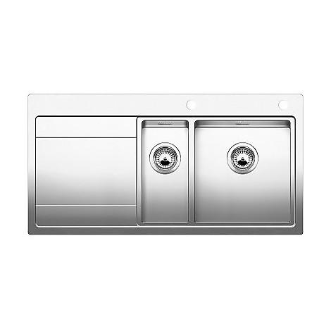 1515933 divon 6 s-if blanco lavello 100x51 2 vasche sgocciolatoio a sinistra inox satinato