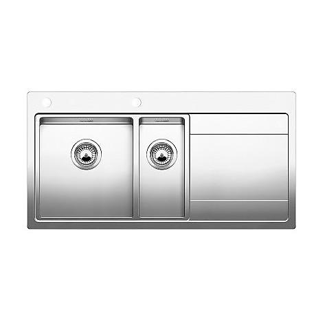 1515934 divon 6 s-if blanco lavello 100x51 2 vasche sgocciolatoio a destra inox satinato