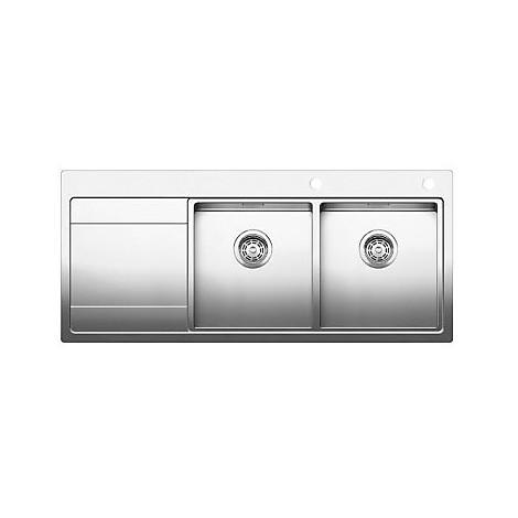 1516091 divon 8 s-if blanco lavello 116x51 2 vasche sgocciolatoio a sinistra inox satinato