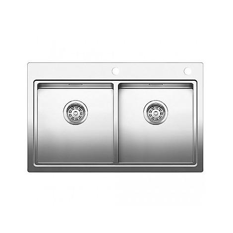 1516093 divon 8-if blanco lavello 86x51 2 vasche senza sgocciolatoio inox satinato 2 fori