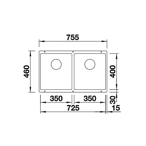 1516286 subline 350/350-u blanco lavello 76x46 2 vasche senza sgocciolatoio silgranit alumetal
