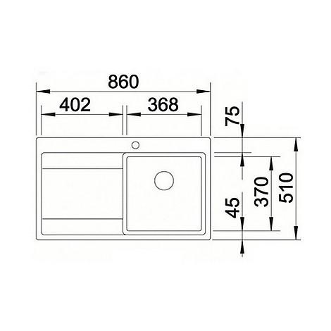 1516385 divon 45 s-if blanco lavello 86x51 1 vasca sgocciolatoio a sinistra inox satinato
