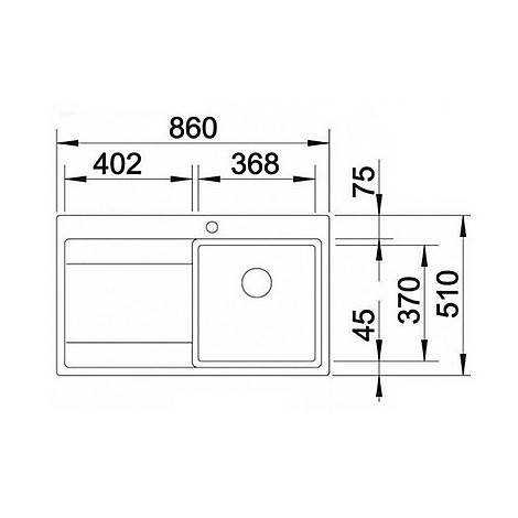1516386 divon 45 s-if blanco lavello 86x51 1 vasca sgocciolatoio a destra inox satinato