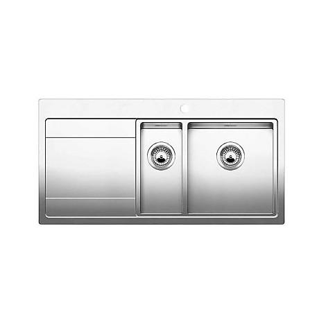 1516389 divon 6 s-if blanco lavello 86x51 2 vasche sgocciolatoio a sinistra inox satinato