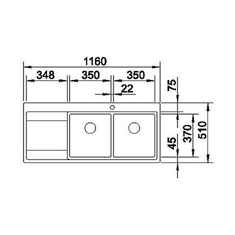 1516391 divon 8 s-if blanco lavello 86x51 2 vasche sgocciolatoio a sinistra inox satinato
