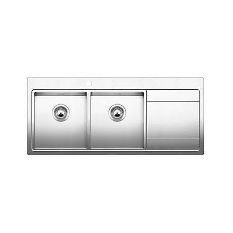 1516392 divon 8 s-if blanco lavello 86x51 2 vasche sgocciolatoio a destra inox satinato