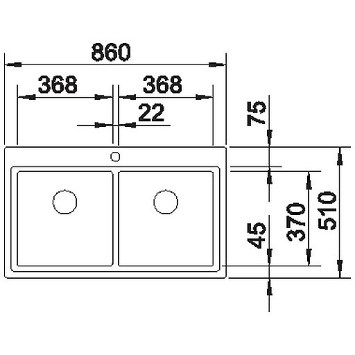 1516393 divon 8-if blanco lavello 86x51 2 vasche senza sgocciolatoio inox satinato 1 foro