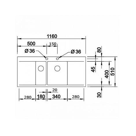 1516537 flow 6 s-if r4 blanco lavello 116x51 2 vasche sgocciolatoio destro e sinistro inox sat