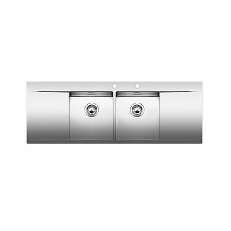 1516538 flow 8 s-if r4 blanco lavello 145x51 2 vasche sgocciolatoio destro e sinistro inox sat
