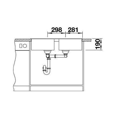 1516677 zia 9 alumetallic blanco lavello 86x50 2 vasche senza sgocciolatoio silgranit sopratop
