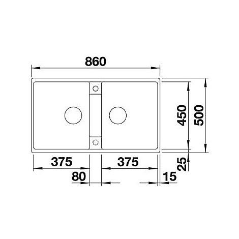 1516686 zia 9 antracite blanco lavello 86x50 2 vasche senza sgocciolatoio silgranit sopratop