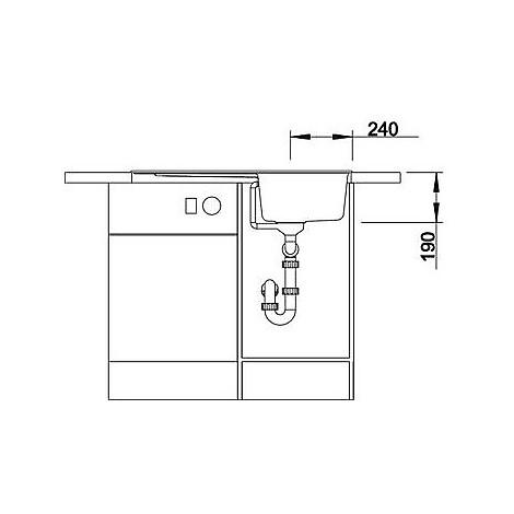 1516739 zia 45 sl alumetallic blanco lavello 86x50 1 vasca reversibile silgranit sopratop