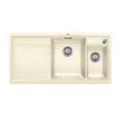 1516844 axia ii 6 s jasmine blanco lavello 100x51 2 vasche sgocciolatoio a sinistra silgranit