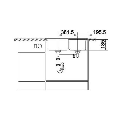 1516882 axia ii 8 antracite blanco lavello 79x51 2 vasche senza sgocciolatoio silgranit