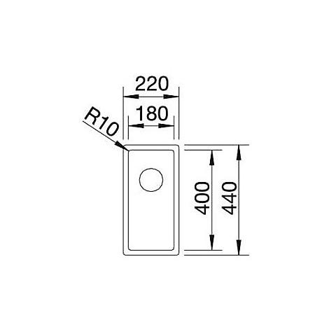 1517208 claron 180-if blanco lavello 22x44 1 vasca senza sgocciolatoio inox satinato