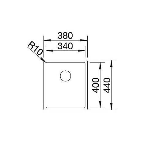 1517210 claron 340-if blanco lavello 38x44 1 vasca senza sgocciolatoio inox satinato