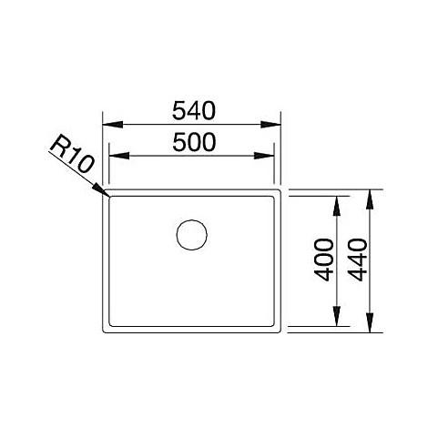 1517217 claron 500-u blanco lavello 54x44 1 vasca senza sgocciolatoio inox satinato sottotop