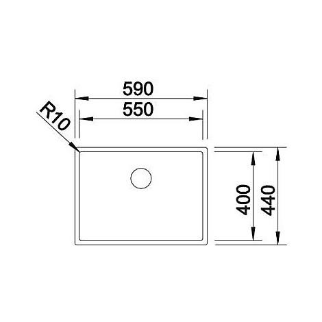 1517221 claron 550-u blanco lavello 59x44 1 vasca senza sgocciolatoio inox satinato sottotop