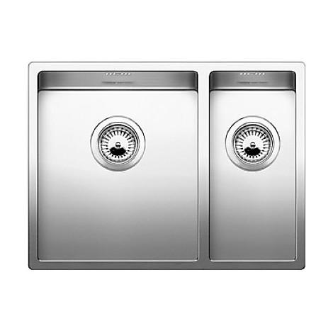 1517224 claron 340/180-if blanco lavello 59x44 2 vasche senza sgocciolatoio inox satinato