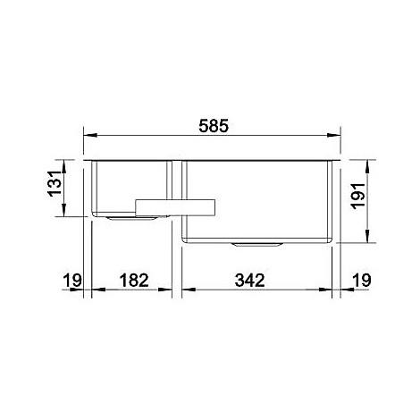 1517226 claron 340/180-u blanco lavello 59x44 2 vasche senza sgocciolatoio inox satinato