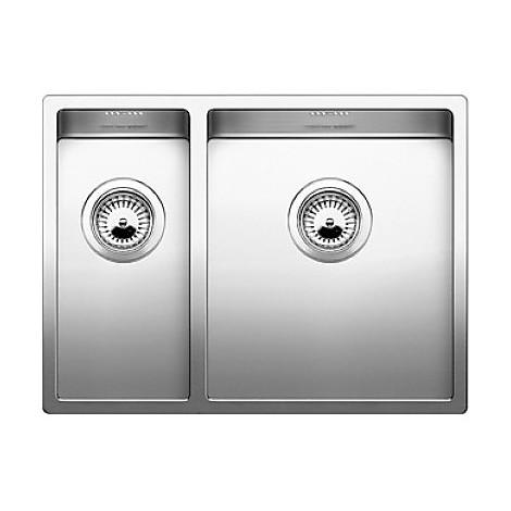 1517227 claron 340/180-u blanco lavello 59x44 2 vasche senza sgocciolatoio inox satinato