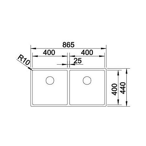 1517230 claron 400/400-if blanco lavello 87x44 2 vasche senza sgocciolatoio inox satinato
