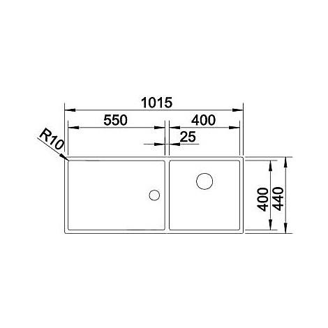 1517233 claron 400/550-t-if blanco lavello 102x44 2 vasche senza sgocciolatoio inox satinato