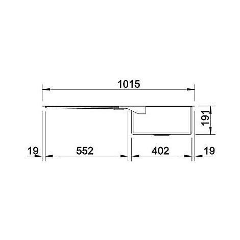 1517235 claron 400/550-t-u blanco lavello 102x44 2 vasche senza sgocciolatoio inox satinato